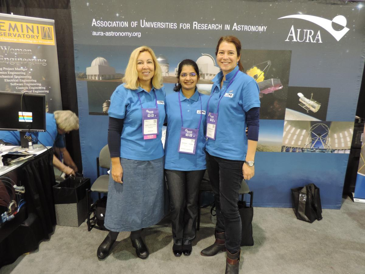 (L-R) LSST Engineers Chris Coleman, Harini Sundararaman, and Constanza Araujo at SWE 2016.