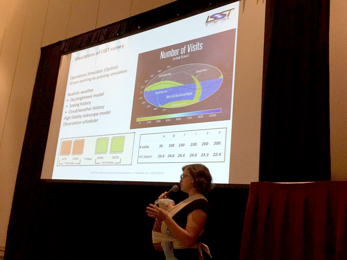 @Lynne73 and the littlest #LSST scientist talk about LSST's observing strategy at #DPSEPSC.